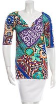 Blumarine Abstract Print Cowl Neck Top