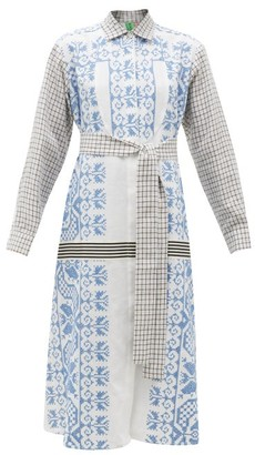 RIANNA + NINA Vintage Cross-stitch & Checked Cotton Shirt Dress - Multi