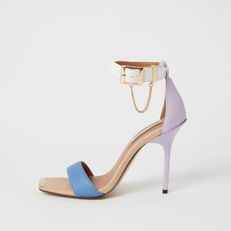 River Island Womens Purple blocked barely there heeled sandals