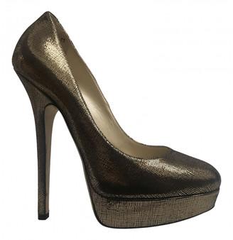 Jimmy Choo Gold Cloth Heels