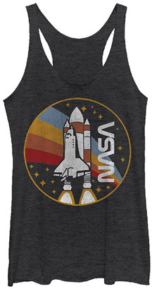 Fifth Sun Women's Tank Tops BLK - NASA Black Heather Retro Rocket Racerback Tank - Juniors