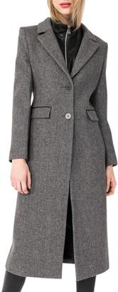 LAMARQUE Malva Wool-Blend Long Coat w/Leather Dickey
