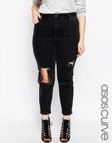 Asos Thea Girlfriend Jean in Washed Black with Madness Rips