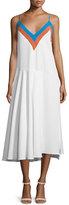 Milly Sleeveless Zigzag Colorblock Midi Dress, Aqua/Multi