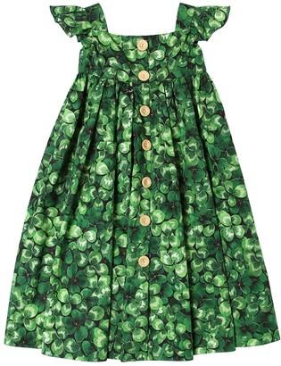 Dolce & Gabbana Clover Print Cotton Poplin Dress