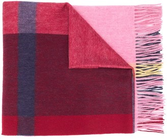 Mulberry Checked Lambs Wool Scarf