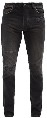 Ksubi Chitch Leather-panel Slim-leg Jeans - Black Multi