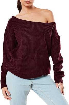 Missguided Ribbed Off-The-Shoulder Sweater