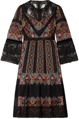 Etro Lace-paneled Printed Silk-crepon Dress
