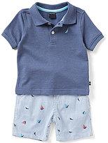 Nautica Baby Boys 12-24 Months Short-Sleeve Polo Shirt & Striped Sailboat Shorts Set