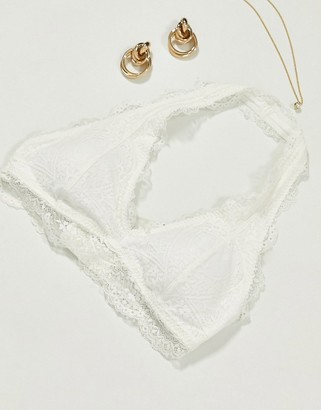 Gilly Hicks lace halter bralette in white