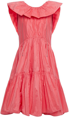 Roksanda Ruffled Gathered Cotton And Silk-blend Taffeta Dress