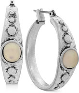 Lucky Brand Silver-Tone White Stone Hoop Earrings