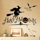 "Dnven (27""w X 19""h) Happy Halloween Pumpkins Spooky Cemetery Witch and Bats Tomb Wall Decals Window Stickers Halloween Decorations for Kids Rooms Nursery Halloween Party"