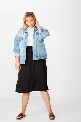 Cotton On Curve Linen Draw Cord Skirt