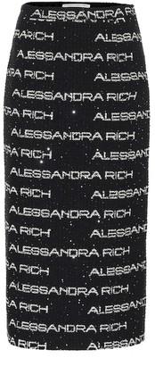 Alessandra Rich Sequined tweed midi skirt