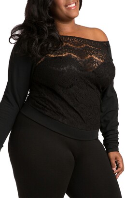 Poetic Justice Lace & Ponte Knit Top