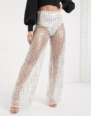 In The Style wide leg sequin trousers in white