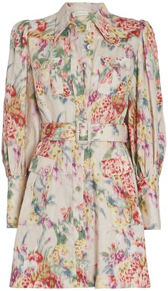 Zimmermann Wavelength Belted Floral Linen Dress