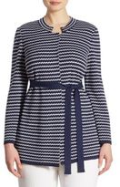 Stizzoli, Plus Size Plus Zigzag Horizontal Knit Jacket