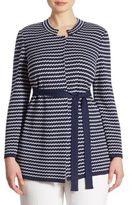 Stizzoli, Plus Size Plus Zigzag Horizontal Knit Jacket