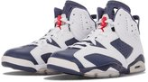 Nike Mens Jordan 6 Retro Olympic Edition Basketball Shoes White / Midnight Navy / Varsity Red 384664-130 Size 10.5