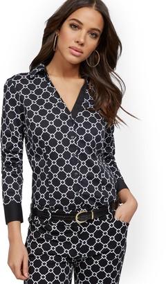 New York & Co. Link-Print Madison Stretch Shirt - Secret Snap - 7th Avenue