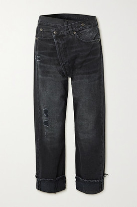 R 13 Crossover Asymmetric Cropped Distressed High-rise Jeans - Black
