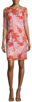 Kay Unger New York Half-Sleeve Floral Lace Cocktail Dress