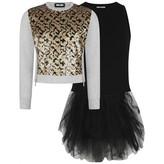 Relish RelishGirls Grey Sequin Leopard Sweater Dress