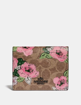 Coach Small Snap Wallet In Signature Canvas With Blossom Print