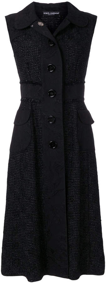 Dolce & Gabbana brocade trim boucle shirt dress