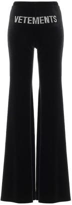 Vetements Embellished stretch-velvet pants