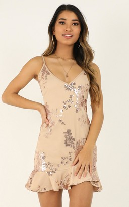 Showpo Carrying Your Love Dress in rose gold sequin - 10 (M) Dresses