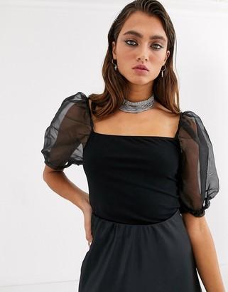 Bershka organza sleeve top in black