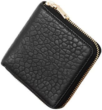 Vash Atlas Zip Wallet In Black Bubble Leather