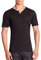 The Kooples Leather Trim Solid Cotton Tee
