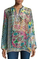 Johnny Was Revine Printed Silk Tunic, Plus Size
