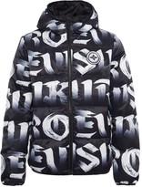 Evisu Allover Brushstroke Logo Printed Down Jacket
