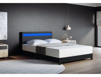 "Wrought Studioâ""¢ Bassik Upholstered Low Profile Platform Bed Wrought Studioa Color: Black, Size: King"