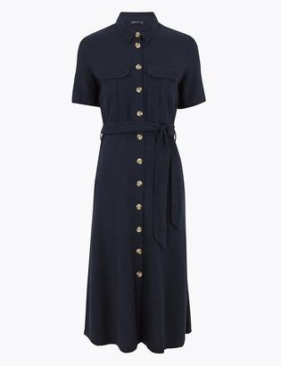 Marks and Spencer Linen Midi Waisted Shirt Dress