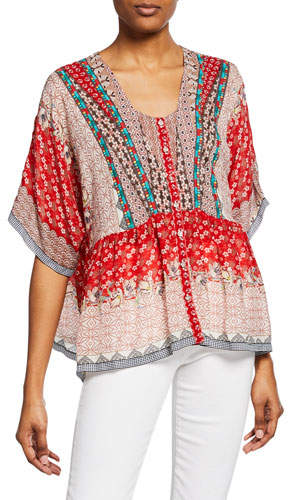Johnny Was Zado Mixed-Print Button-Front Half-Sleeve Blouse