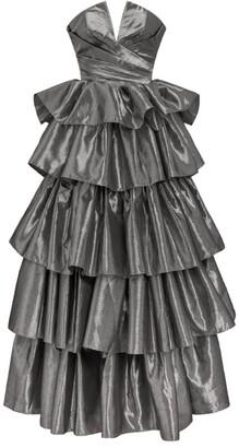 Rasario Metallic Ruffle Gown
