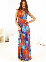 V-neck halter jersey maxi dress