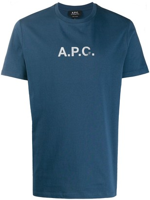 A.P.C. faded logo print crew neck T-shirt