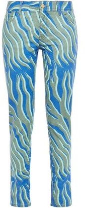 Just Cavalli Printed Mid-rise Slim-leg Jeans