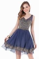 Terani Couture Illusion V-neck Multi Color Beads Embellishment Cocktail Dress 1621H1006