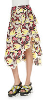 Marni Floral-Print Eyelet-Trim Asymmetric Skirt, Orange/Red
