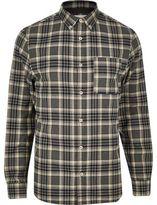 River Island MensGrey check flannel shirt