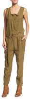 Belstaff Sleeveless Snap-Front Jumpsuit, Olive